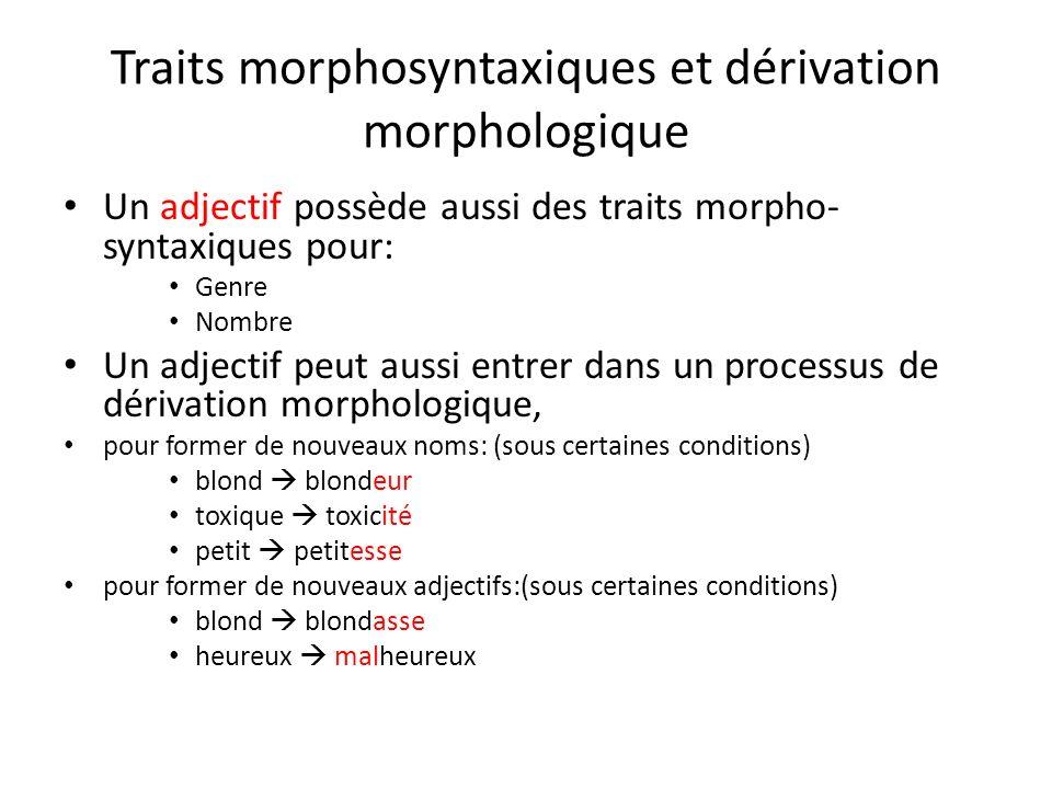 Traits morphosyntaxiques et dérivation morphologique