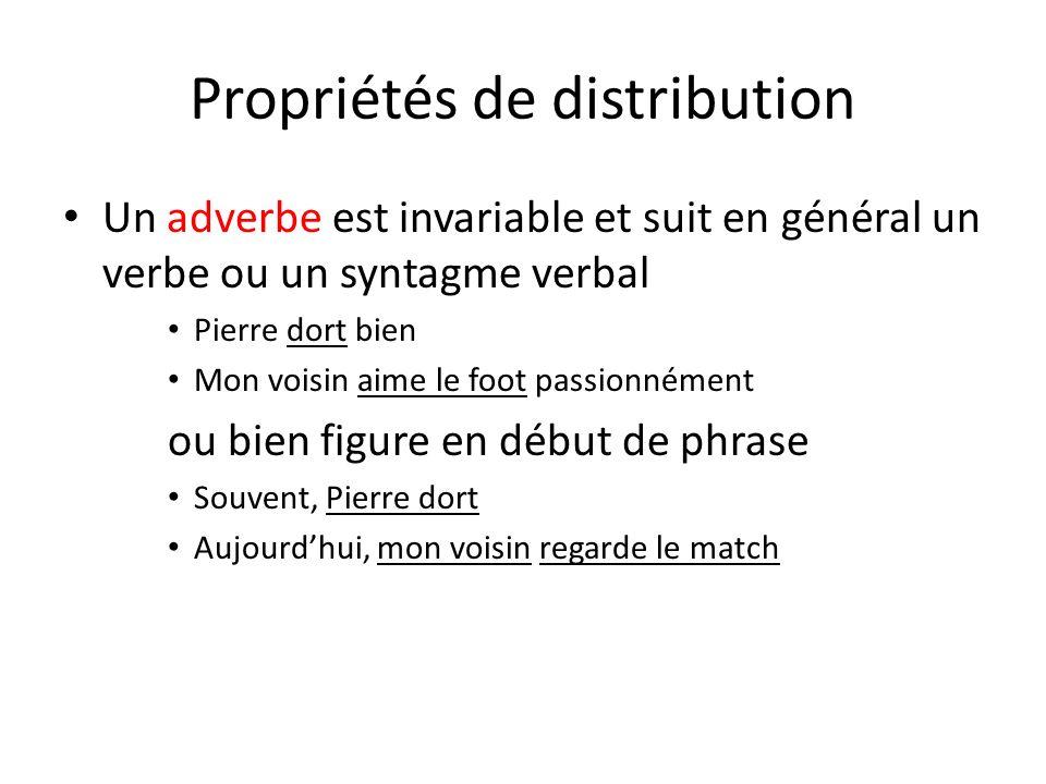 Propriétés de distribution