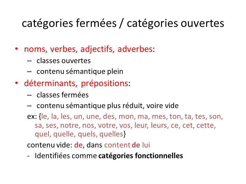 catégories fermées / catégories ouvertes