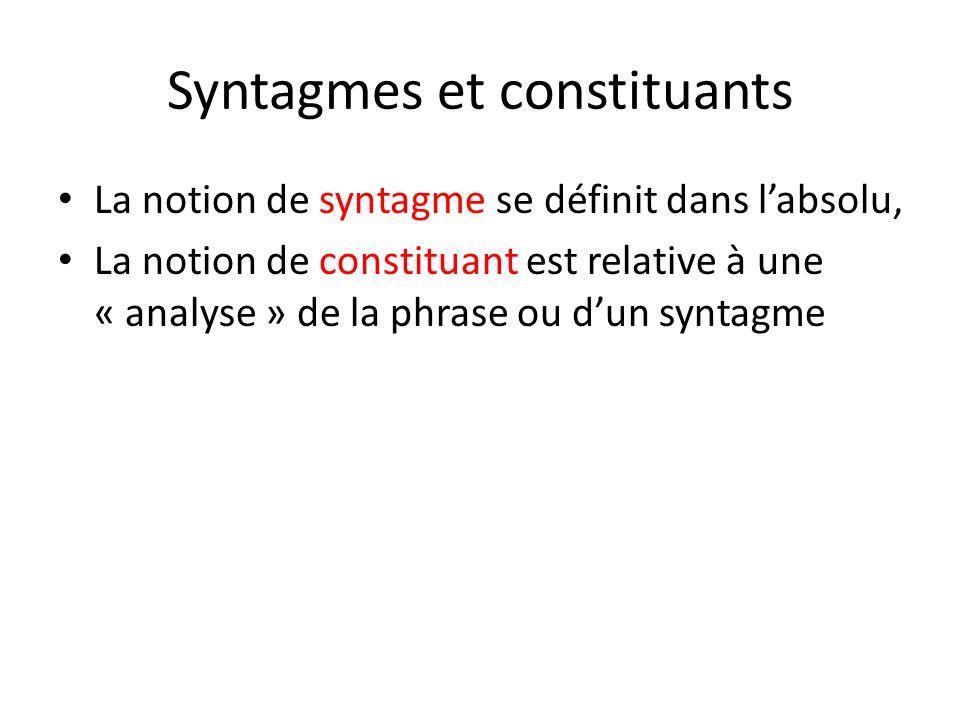 Syntagmes et constituants