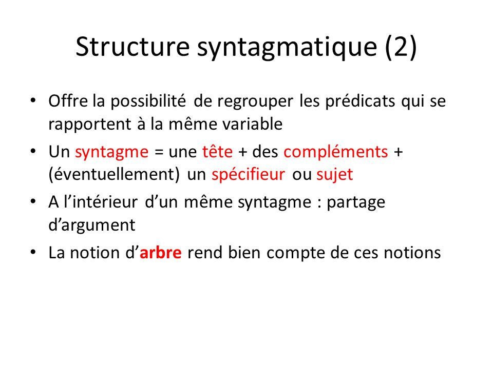 Structure syntagmatique (2)