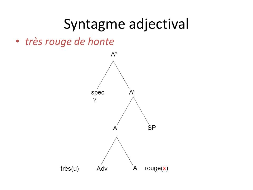 Syntagme adjectival très rouge de honte A'' spec A' A SP très(u) Adv