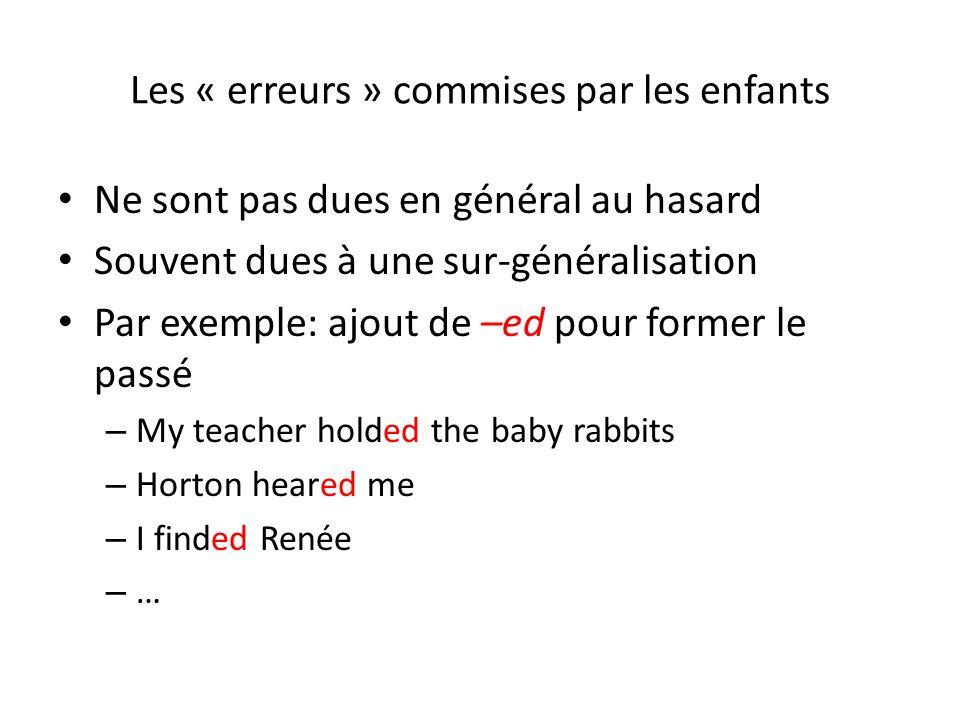 Les « erreurs » commises par les enfants