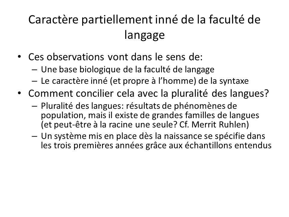 Caractère partiellement inné de la faculté de langage