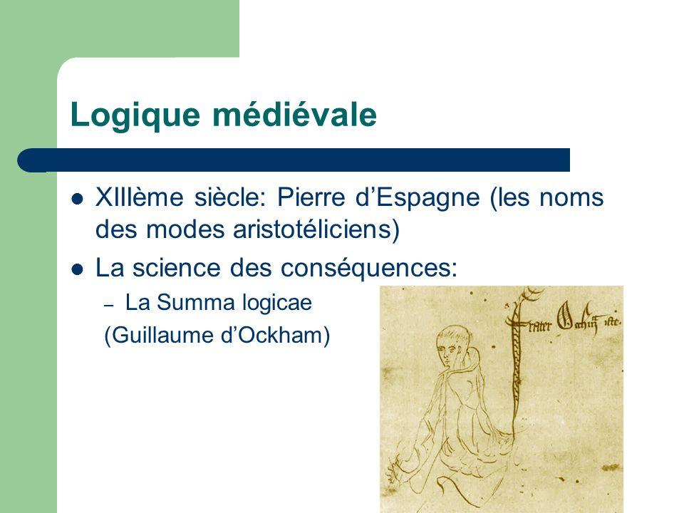 Logique médiévale XIIIème siècle: Pierre d'Espagne (les noms des modes aristotéliciens) La science des conséquences: