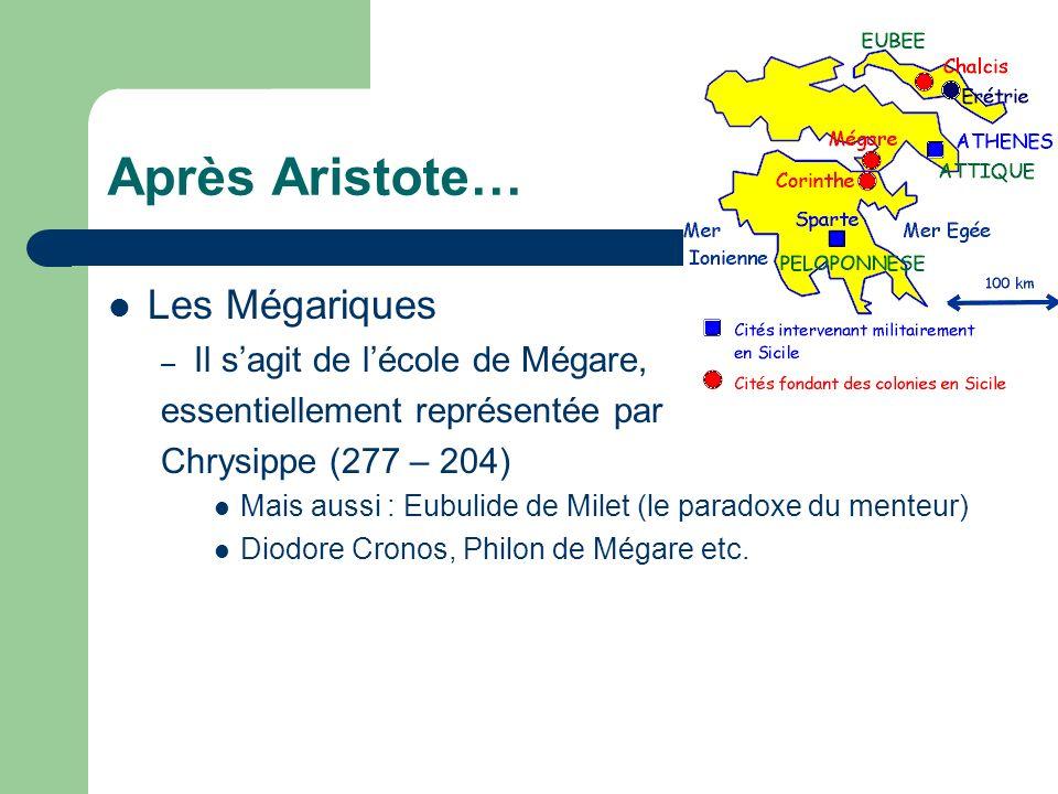 Après Aristote… Les Mégariques Il s'agit de l'école de Mégare,