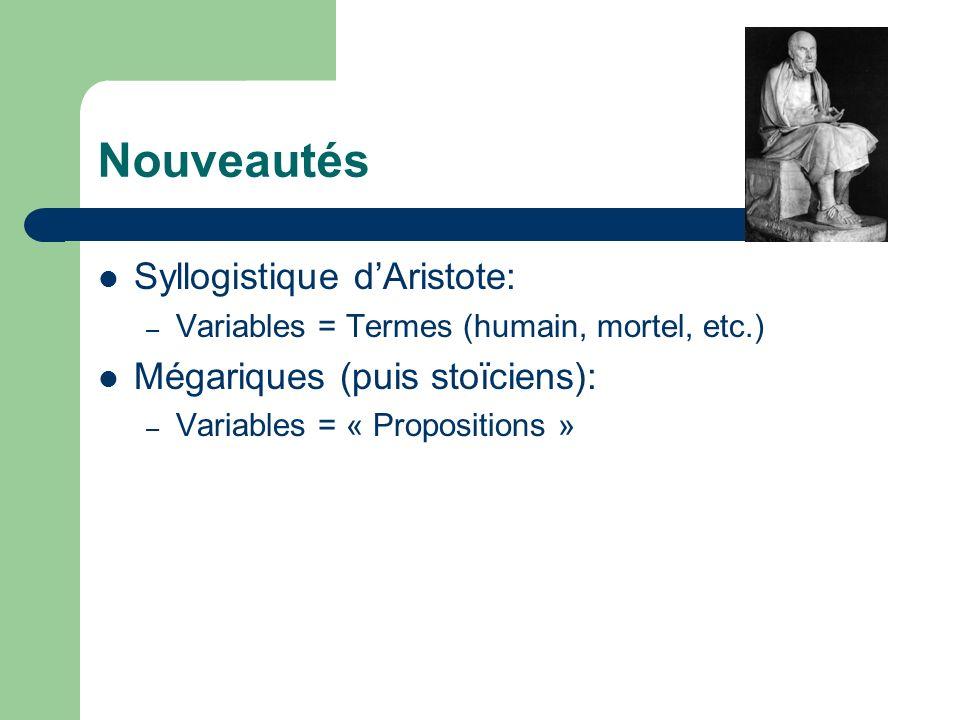 Nouveautés Syllogistique d'Aristote: Mégariques (puis stoïciens):