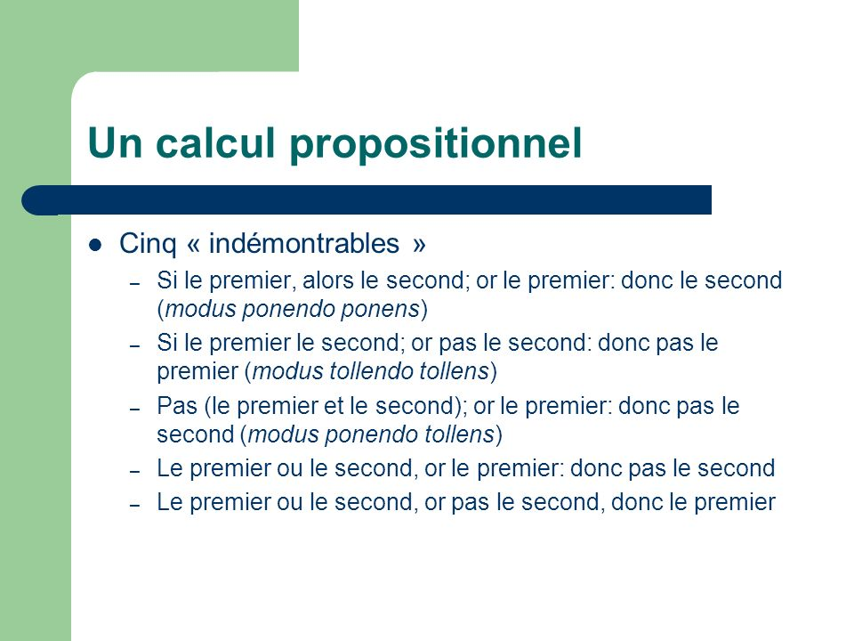 Un calcul propositionnel