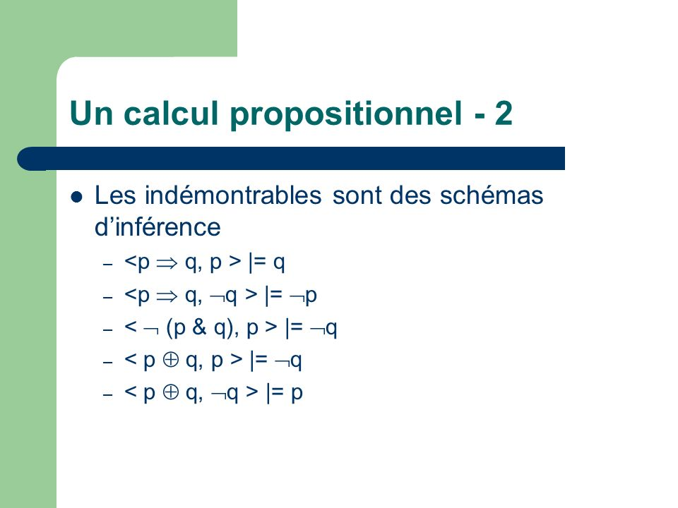 Un calcul propositionnel - 2