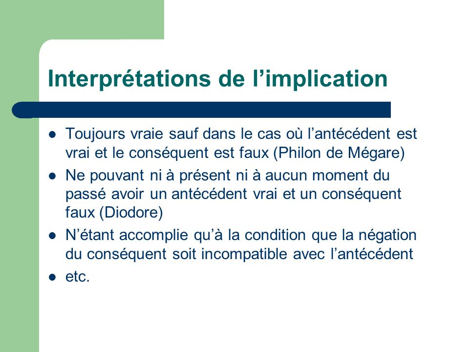 Interprétations de l'implication