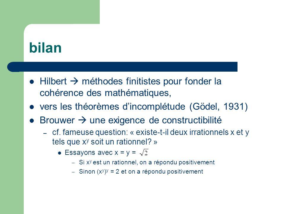 bilan Hilbert  méthodes finitistes pour fonder la cohérence des mathématiques, vers les théorèmes d'incomplétude (Gödel, 1931)