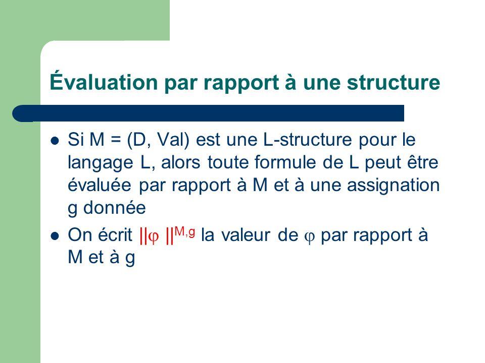 Évaluation par rapport à une structure
