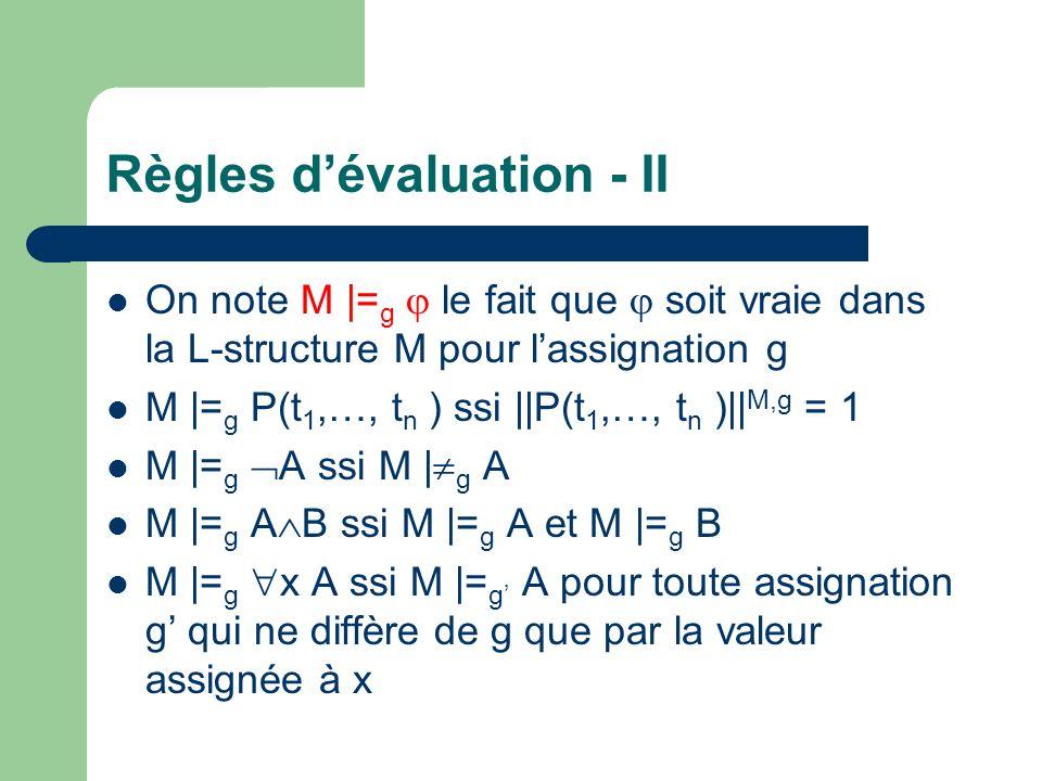 Règles d'évaluation - II