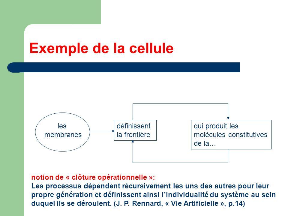 Exemple de la cellule les membranes définissent la frontière