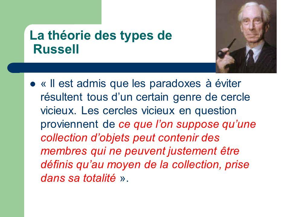 La théorie des types de Russell