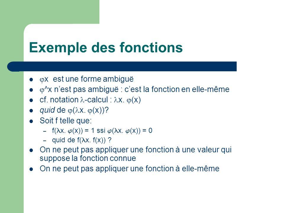 Exemple des fonctions x est une forme ambiguë