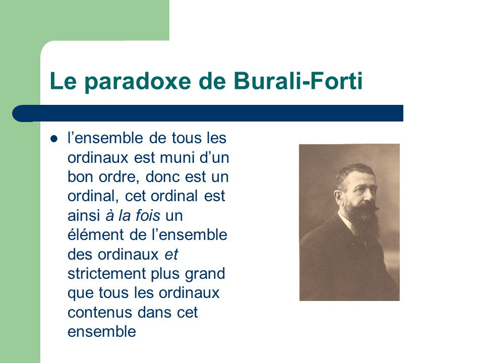 Le paradoxe de Burali-Forti