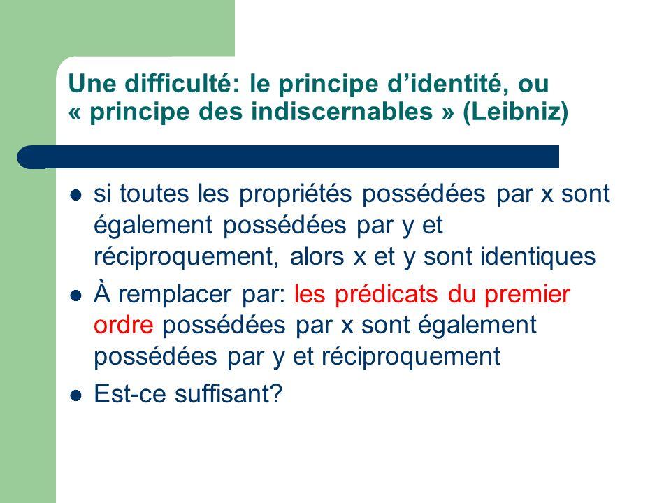 Une difficulté: le principe d'identité, ou « principe des indiscernables » (Leibniz)