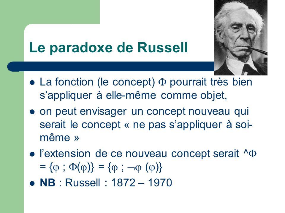 Le paradoxe de Russell La fonction (le concept)  pourrait très bien s'appliquer à elle-même comme objet,