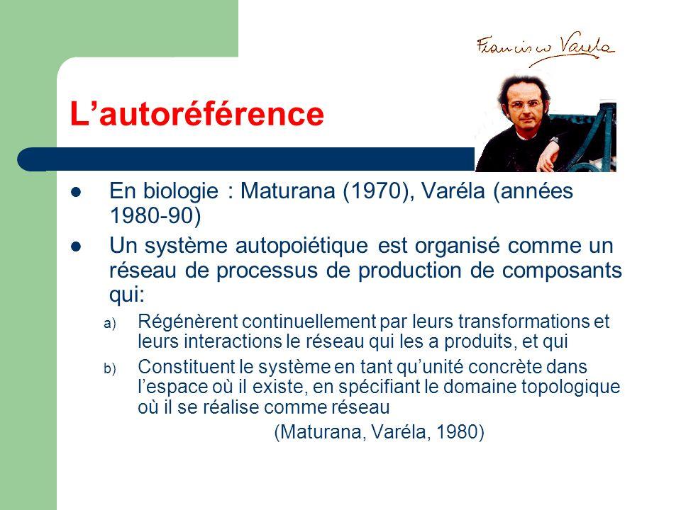 L'autoréférence En biologie : Maturana (1970), Varéla (années 1980-90)