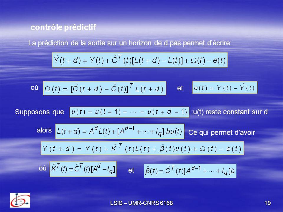 contrôle prédictif La prédiction de la sortie sur un horizon de d pas permet d'écrire: où. et. Supposons que.