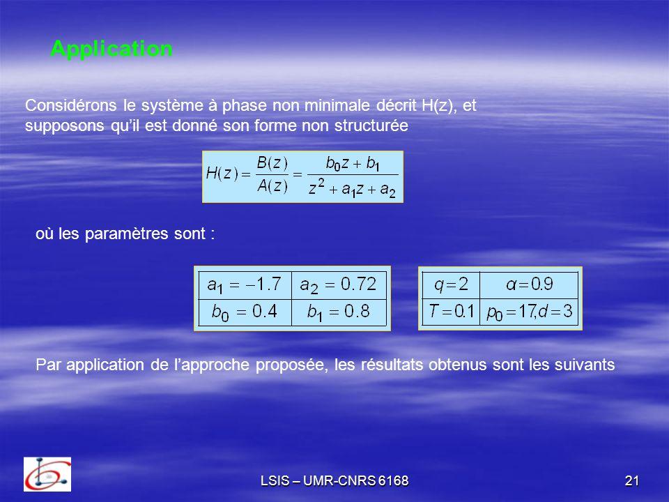 Application Considérons le système à phase non minimale décrit H(z), et. supposons qu'il est donné son forme non structurée.