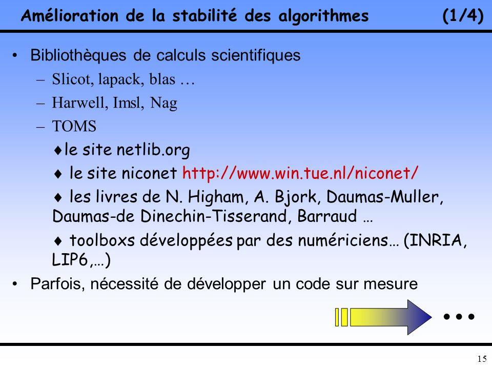 Amélioration de la stabilité des algorithmes (1/4)