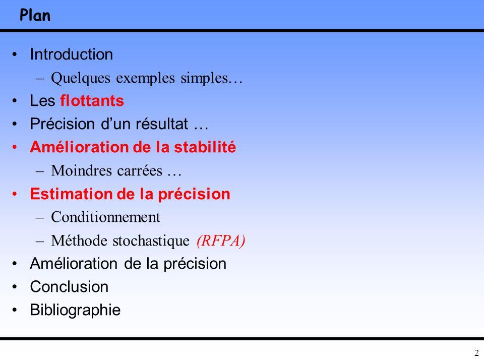 Plan Introduction. Quelques exemples simples… Les flottants. Précision d'un résultat … Amélioration de la stabilité.