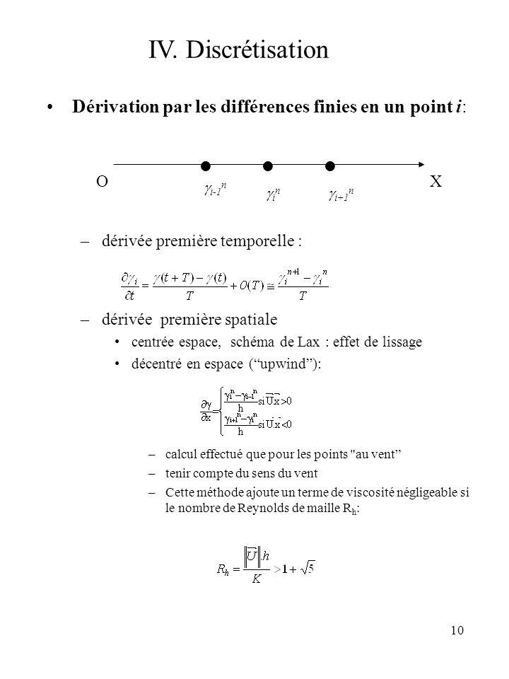 IV. Discrétisation Dérivation par les différences finies en un point i: dérivée première temporelle :