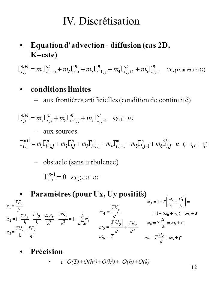 IV. Discrétisation Equation d advection - diffusion (cas 2D, K=cste)