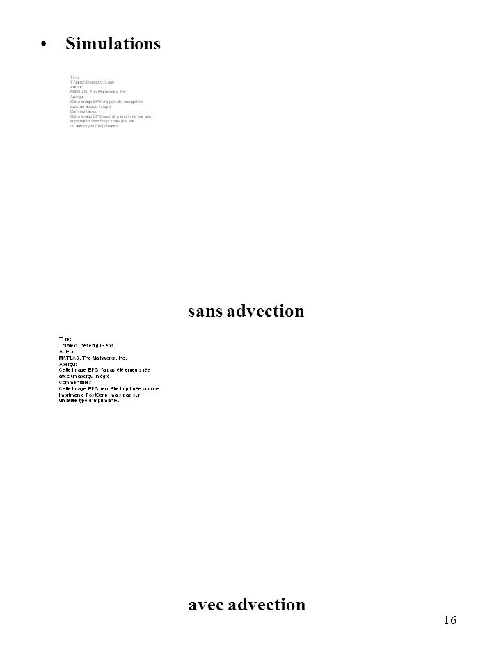Simulations sans advection avec advection