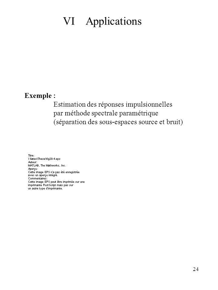 VI Applications Exemple : Estimation des réponses impulsionnelles