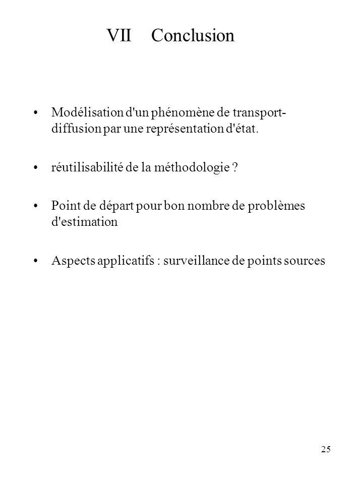 VII Conclusion Modélisation d un phénomène de transport-diffusion par une représentation d état.