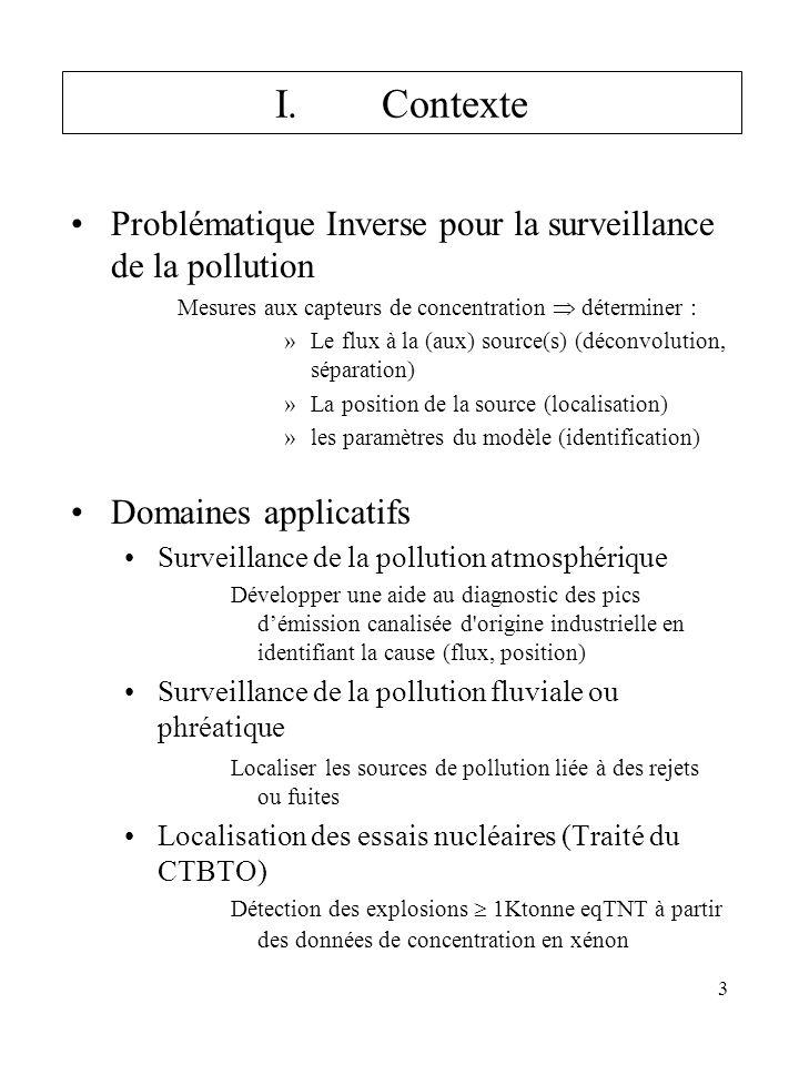 I. Contexte Problématique Inverse pour la surveillance de la pollution