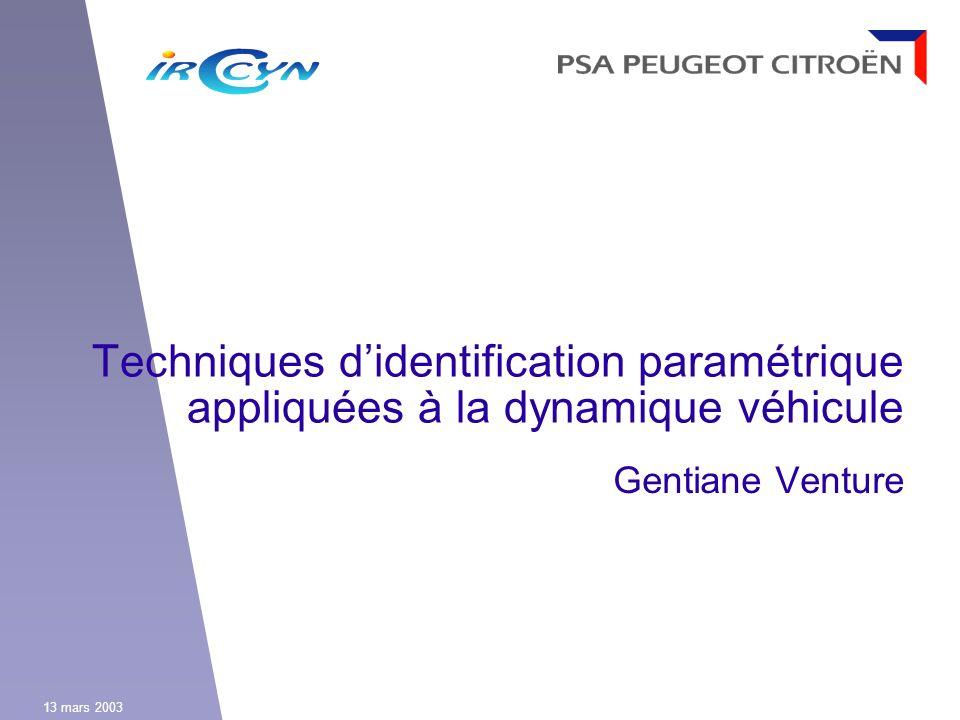 Techniques d'identification paramétrique appliquées à la dynamique véhicule