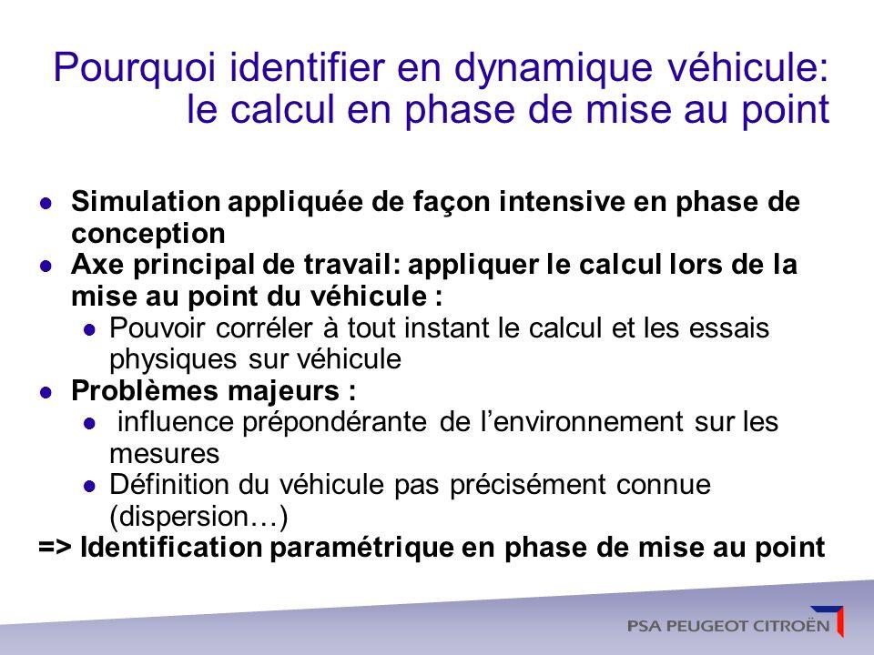 Pourquoi identifier en dynamique véhicule: le calcul en phase de mise au point
