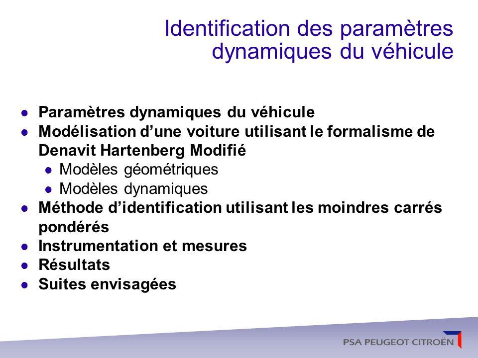 Identification des paramètres dynamiques du véhicule
