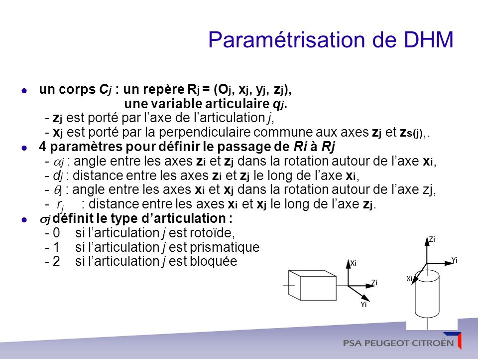 Paramétrisation de DHM