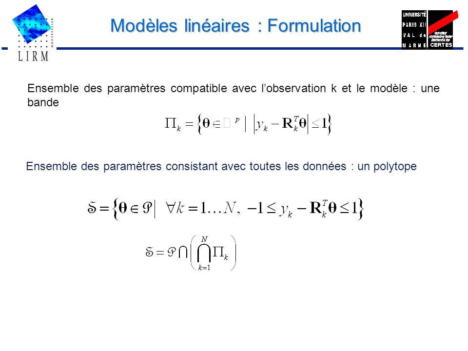 Modèles linéaires : Formulation