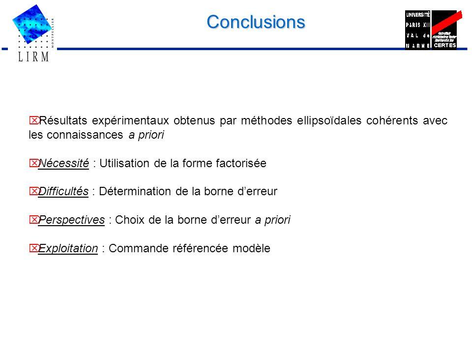 Conclusions. Ö Résultats expérimentaux obtenus par méthodes ellipsoïdales cohérents avec les connaissances a priori.