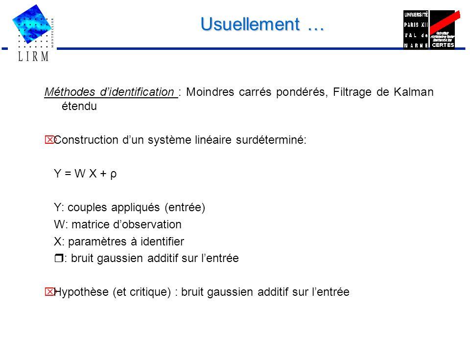 Usuellement … Méthodes d'identification : Moindres carrés pondérés, Filtrage de Kalman étendu. Ö Construction d'un système linéaire surdéterminé: