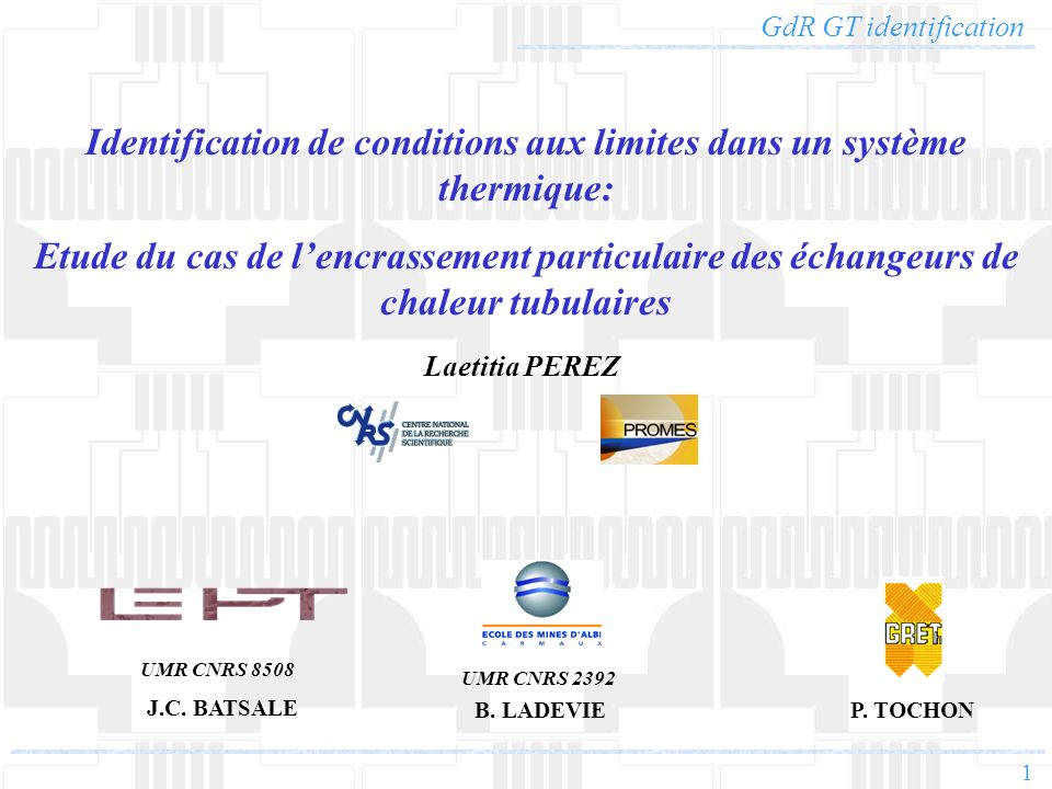 Identification de conditions aux limites dans un système thermique: