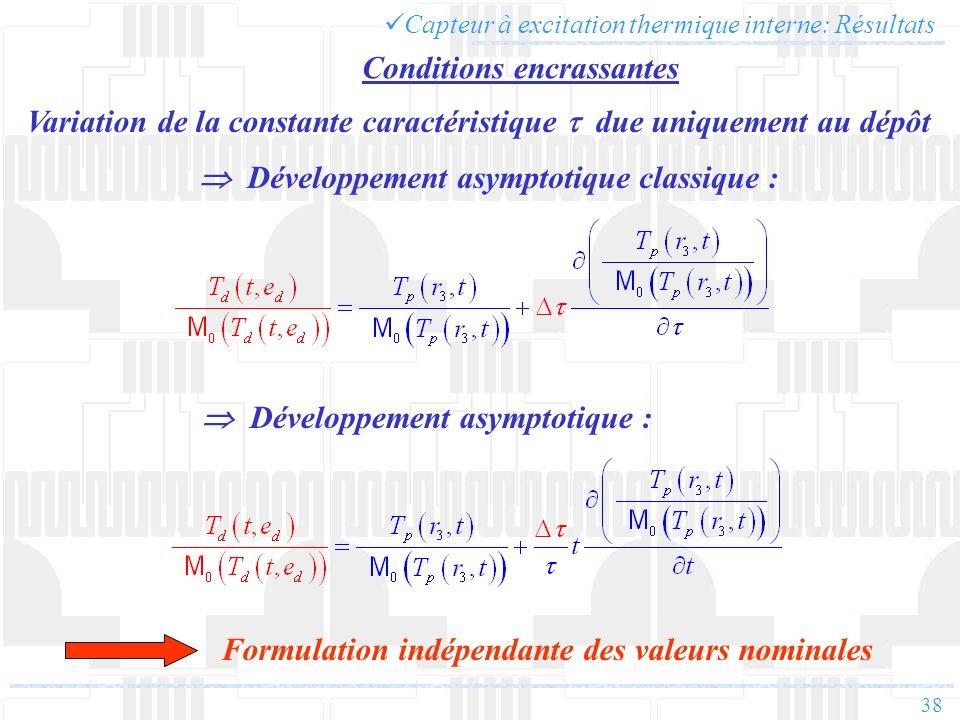 Variation de la constante caractéristique t due uniquement au dépôt
