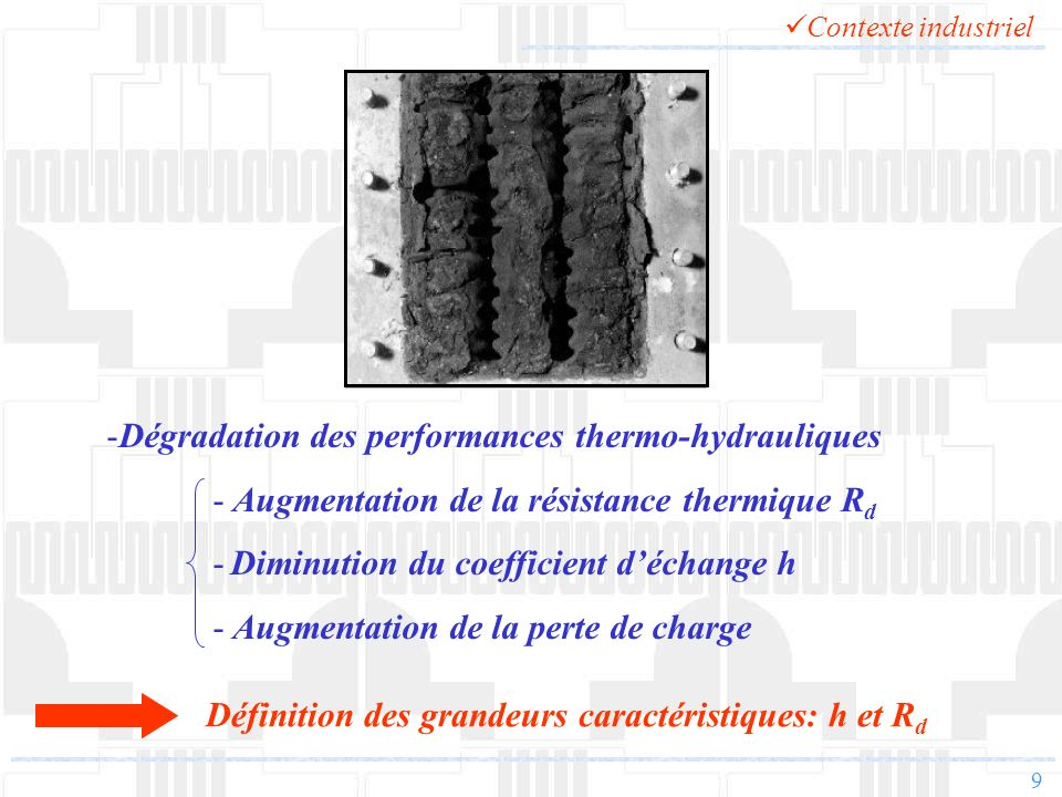 Dégradation des performances thermo-hydrauliques