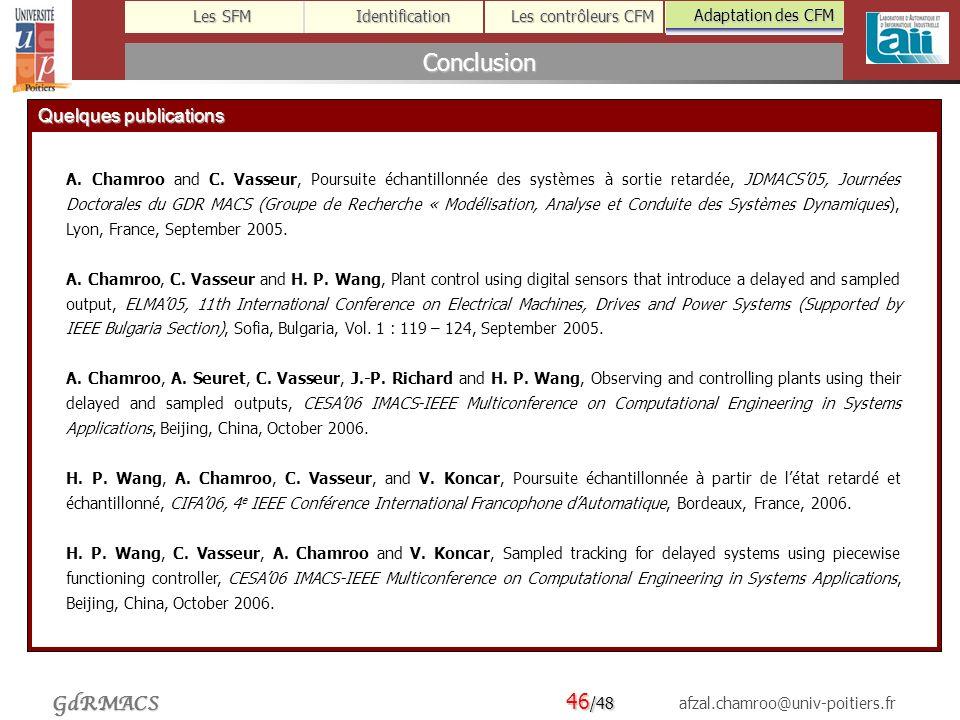 Conclusion Quelques publications Adaptation des CFM