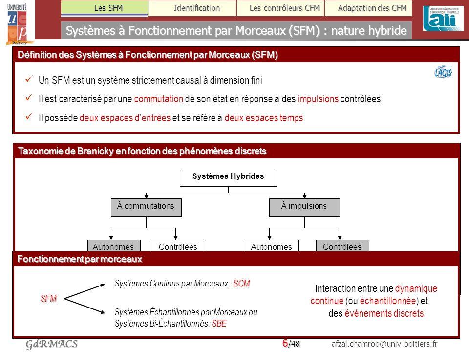 Systèmes à Fonctionnement par Morceaux (SFM) : nature hybride