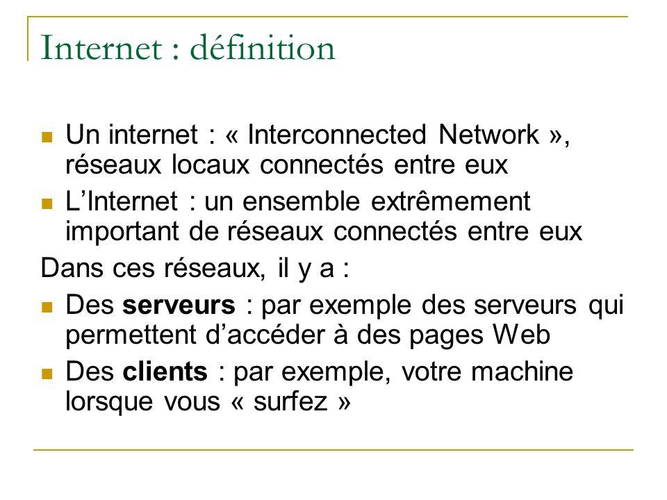 Internet : définition Un internet : « Interconnected Network », réseaux locaux connectés entre eux.