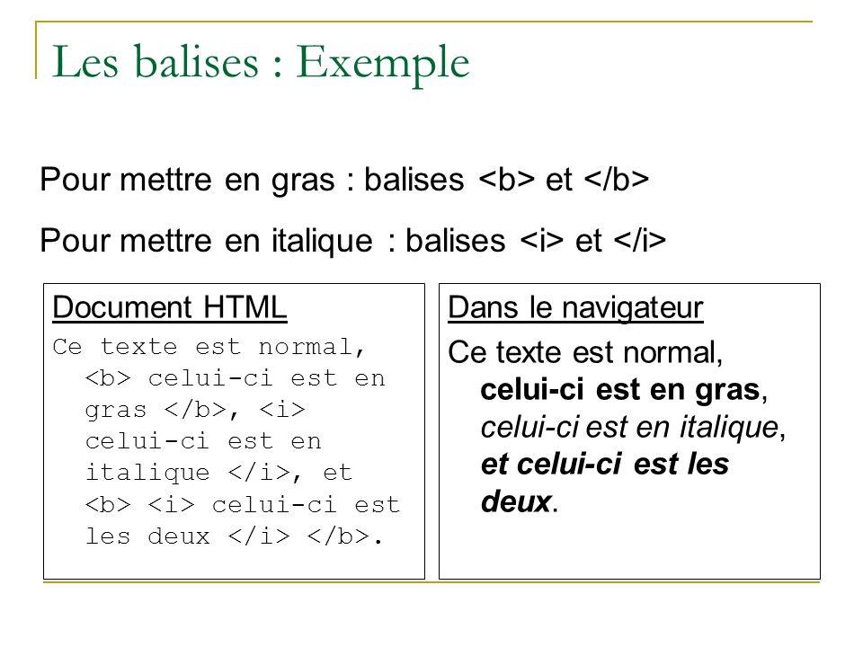 Les balises : Exemple Pour mettre en gras : balises <b> et </b> Pour mettre en italique : balises <i> et </i>