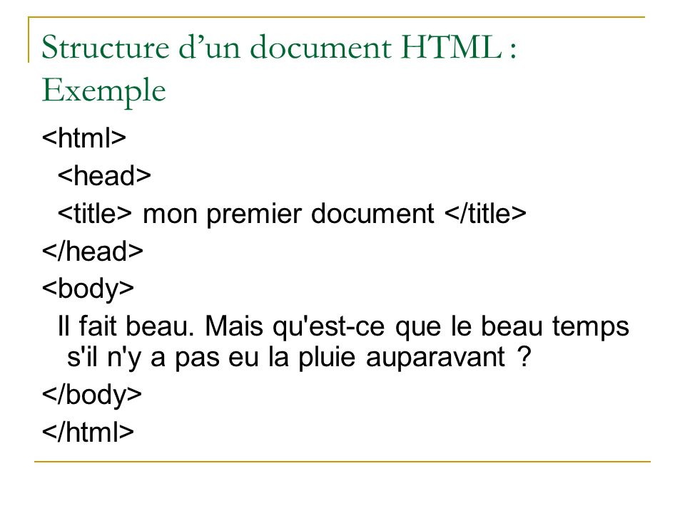 Structure d'un document HTML : Exemple