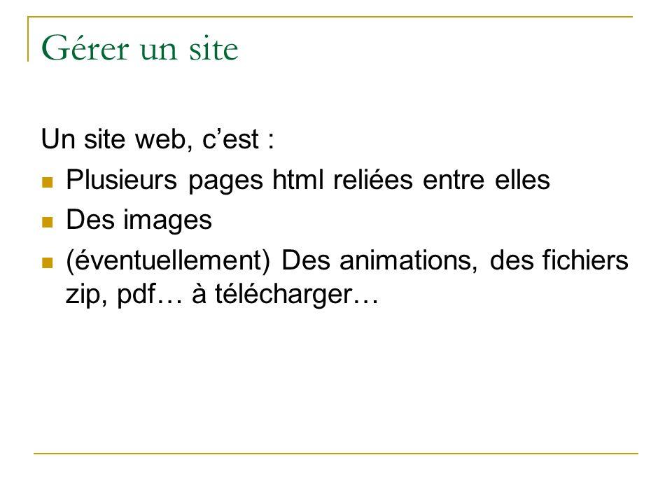 Gérer un site Un site web, c'est :